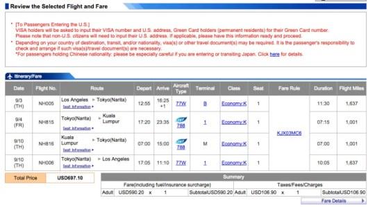 Los Angeles to Kuala Lumpar for $697