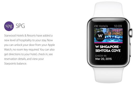 The Apple Watch will serve as your room key at many Starwood properties including the W Singapore- Sentosa Cove.
