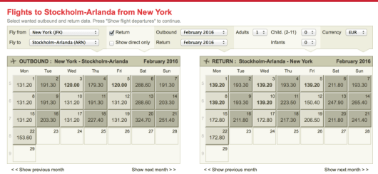 The best to search is using the flexible calendar function on the Norwegian Air site.