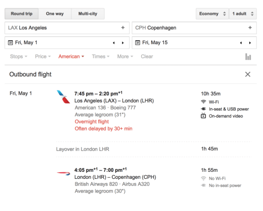 You can search for these flights using Google Flights.