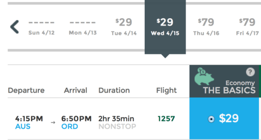Fly from Austin to Chicago-O'Hare for $29 one-way.