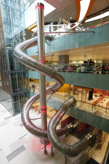 The famous slide in Singapore's Changi T3