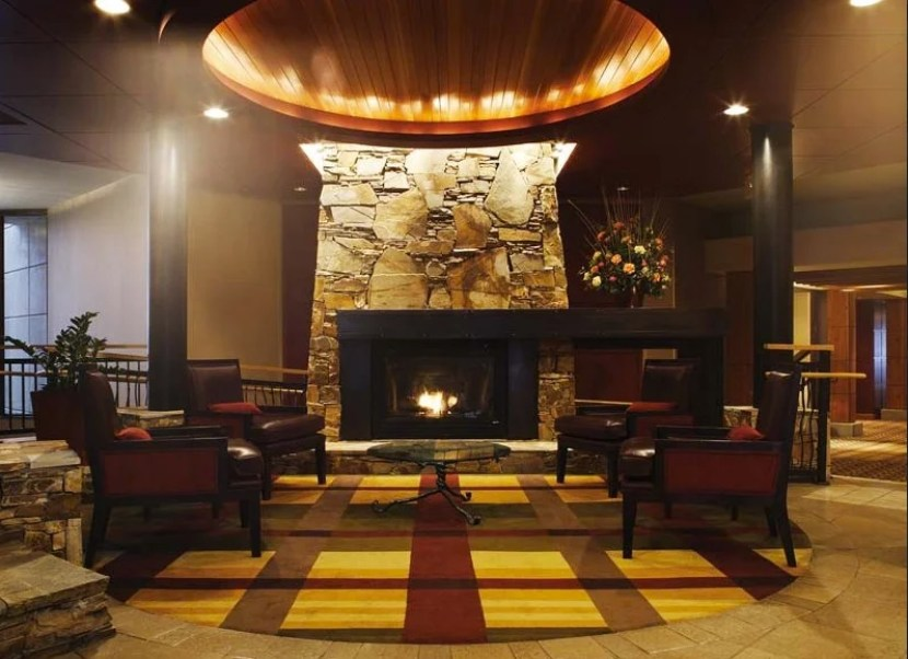 A comfy indoor lounge area in the lobby.