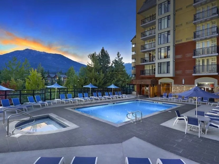The pool and hot tub have a great view.