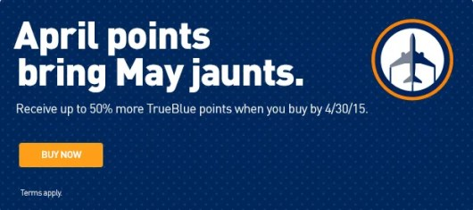 Earn up to a 50% bonus on purchased JetBlue points.