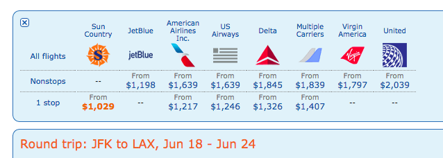 United often has the most expensive transcon business class flights.