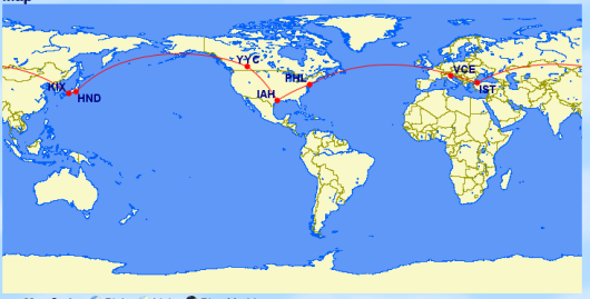 It has been possible to fly around the world for 55,000 US Airways miles.