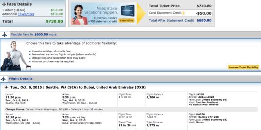 Seattle-Dubai booking through United