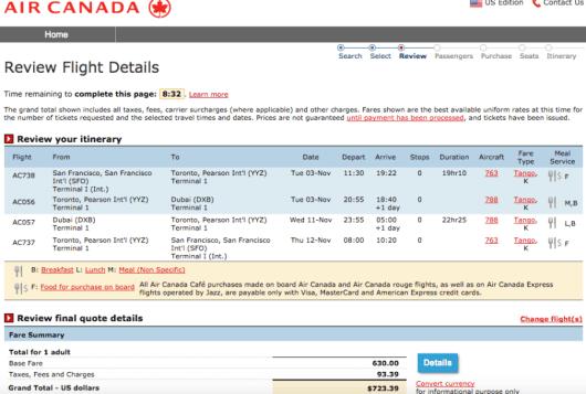 San Francisco-Dubai booking through Air Canada