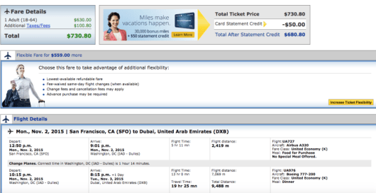 San Francisco-Dubai booking through United