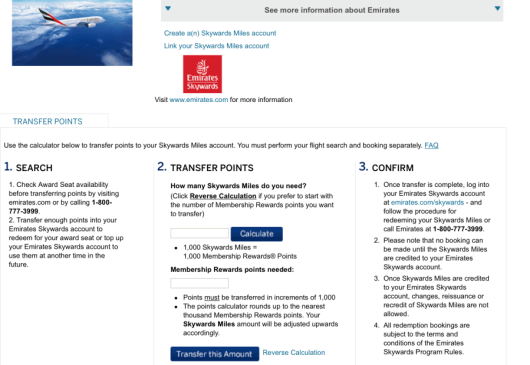 Emirates is a 1:1 transfer partner from American Express.