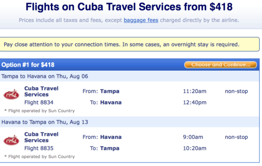 Fly from Tampa-Havana on a Sun Country charter flight.