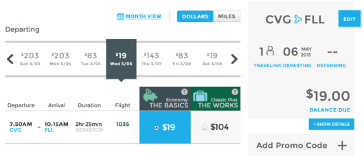 Head from Cincinnati to Ft. Lauderdale for just $19 one-way.