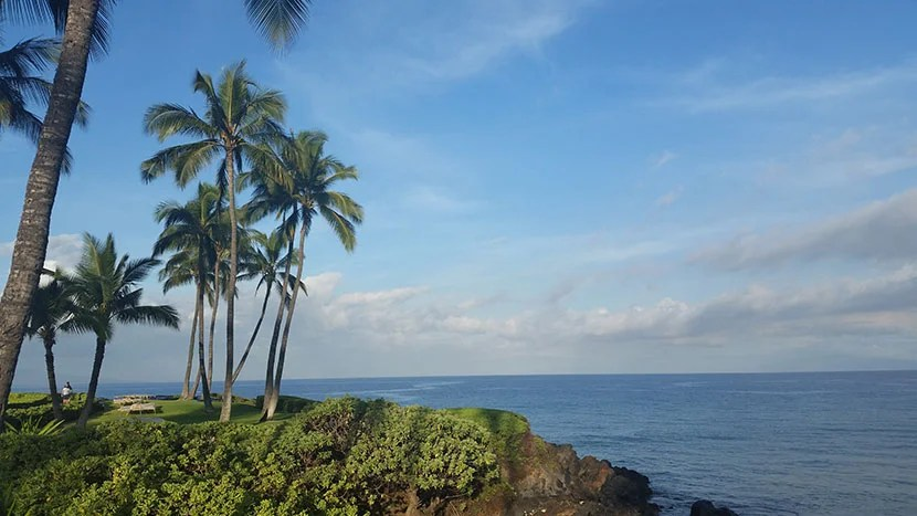 Serene scene from Maui's Wailea Beach Walkway--a paved oceanfront recreation path, great for walking with a baby stroller. Photo by Kara Williams.