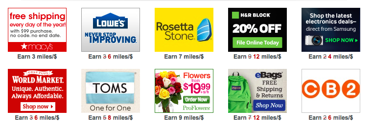 A few of the bonus miles offers available via the AAdvantage eShopping portal