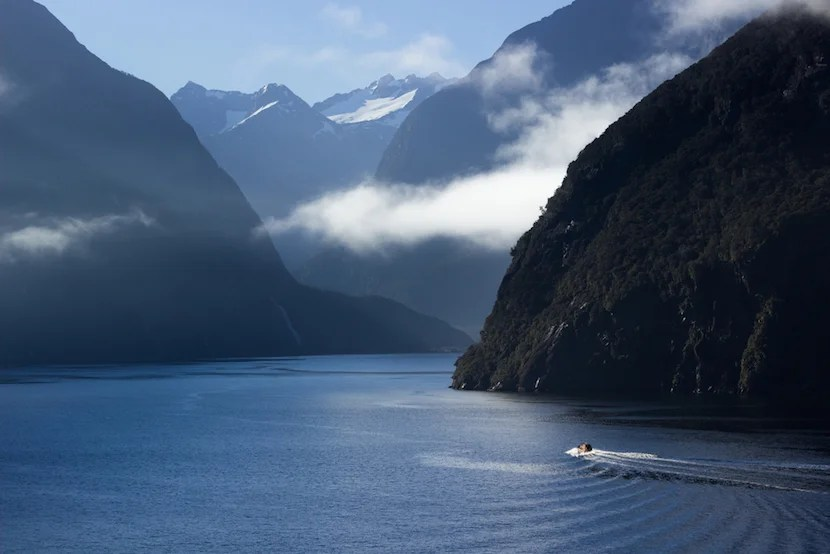 Dramatic scenery to discover on the water in New Zealand. Photo courtesy Shutterstock.