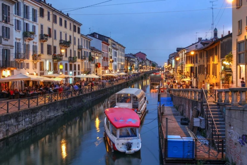 Milan's Naviglio Canal offers romance during the day or night. (Photo courtesy of Shutterstock)
