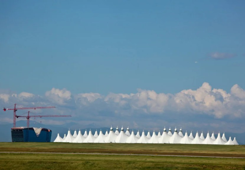 The white peaks of DIA's roof. Photo courtesy of Denver International Airport