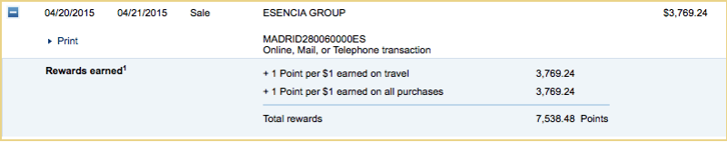 I earned double Chase Ultimate Rewards points, as my travel agent counted as a travel expense.
