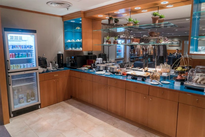The meager food and beverage options in the lounge.