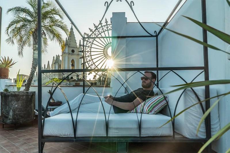 The rooftop terrace at Casa Vitrales, Havana