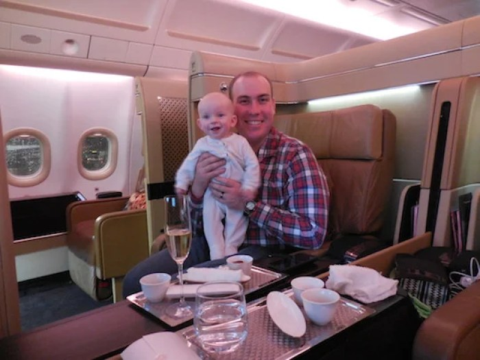 It'd be harder to find two happier men flying first class.