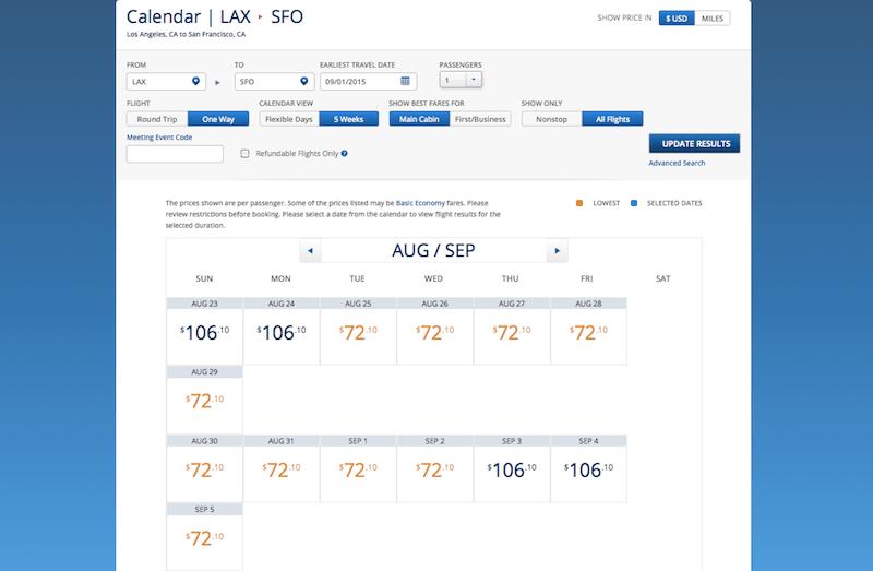 Delta LAX SFO price