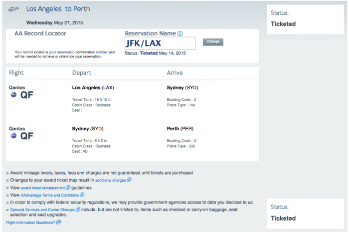 My business-class award from LA to Perth via Sydney came to 56,250 miles and $43 in taxes/fees.