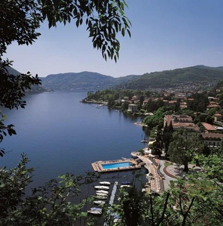 Dip into the floating pool on Lake Como