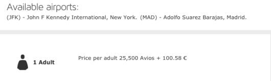 The same flight using Iberia's own program cuts the charges in half.