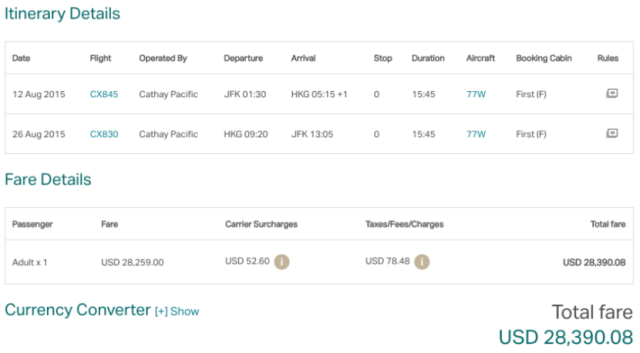New York (JFK) to Hong Kong (HKG) in Cathay Pacific first for $28,390.