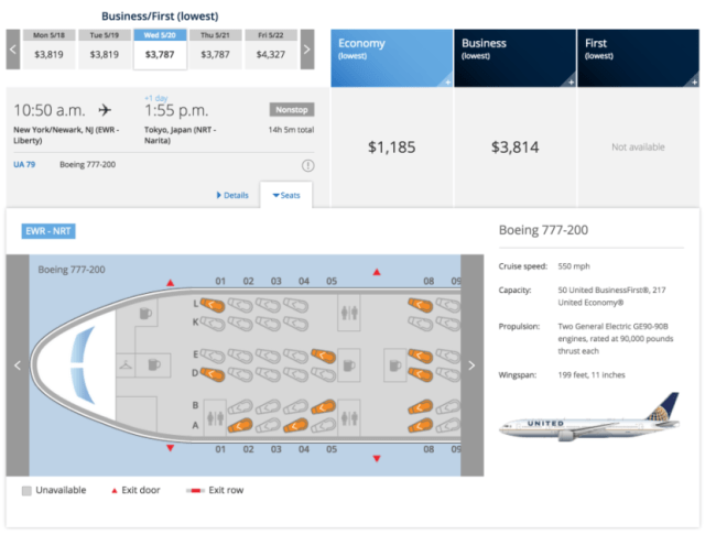 Now you can pull up a seat map preview on the main search results page.