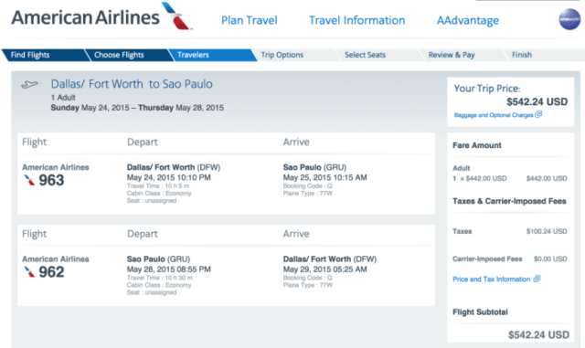 Dallas/Fort Worth (DFW) to Sao Paulo (GRU) for $542.
