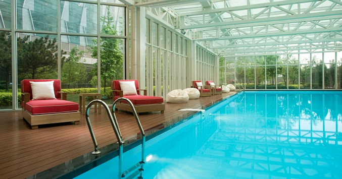 The pool area at the DoubleTree Beijing will make you feel far from the bustle of the city