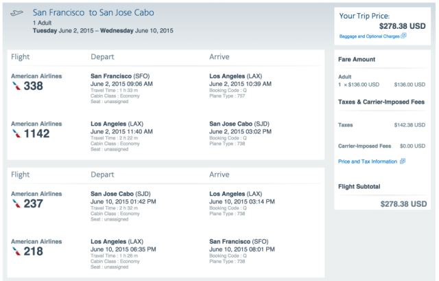 San Francisco (SFO) to Los Cabos (SJD) for $278 on American Airlines.