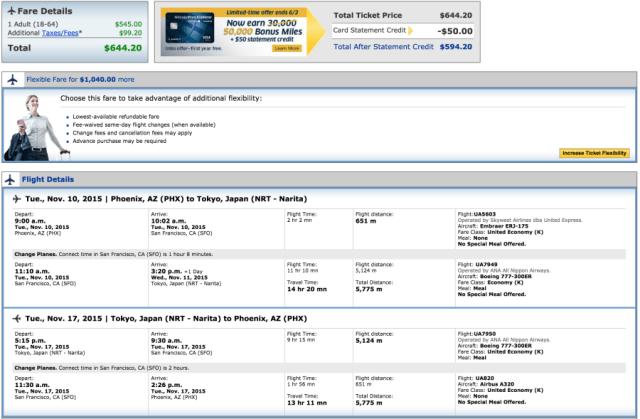 Phoenix (PHX)-Tokyo (NRT) for $644.