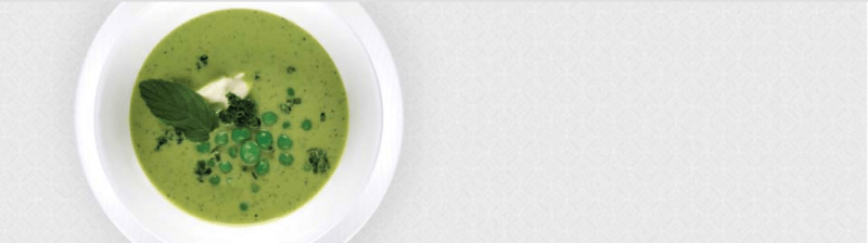 Spring pea soup from Qatar's sample menus.
