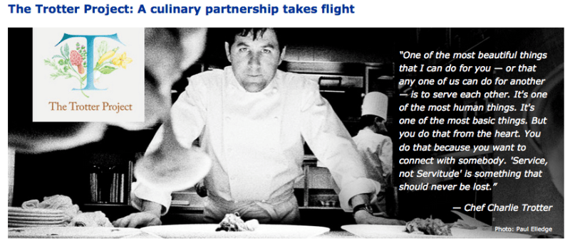 United recently launched a new culinary program called the Charlie Trotter Project.
