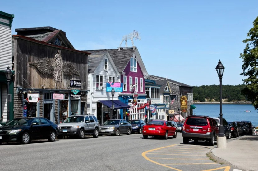 Downtown Bar Harbor, near Frenchman Bay. Photo courtesy of Shutterstock.