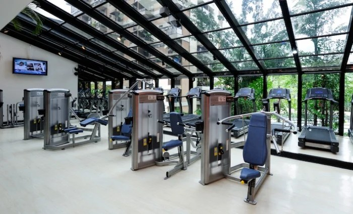 A bright and sunny fitness center.
