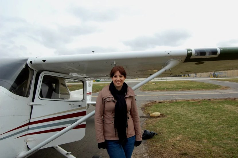 The author, smiling at being safely back on the ground! Photo by Katie Hammel.