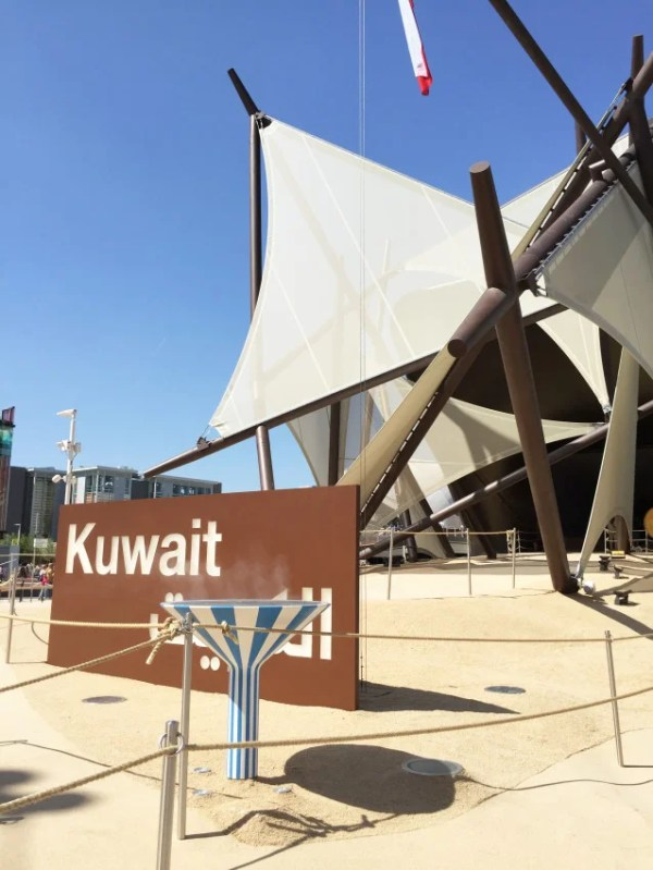 The Kuwait pavilion is meant to evoke the country's traditional sailing ships.