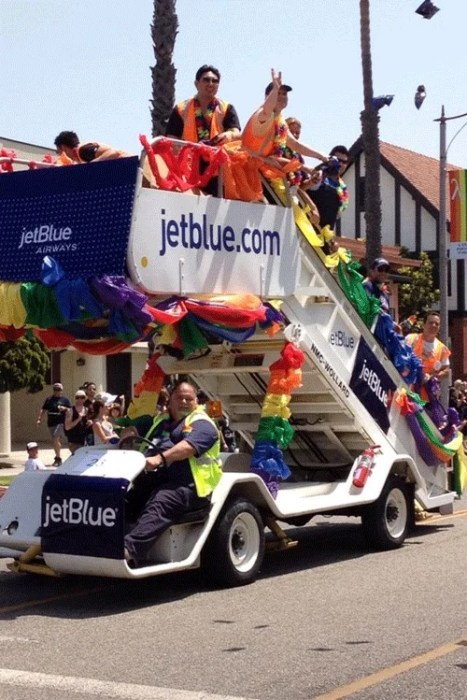 """A brilliant take on a parade float. Photo courtesy of <a href=""""http://blog.jetblue.com/index.php/2012/05/22/jetblue-is-proud-to-support-long-beach-pride/"""">JetBlue</a>"""