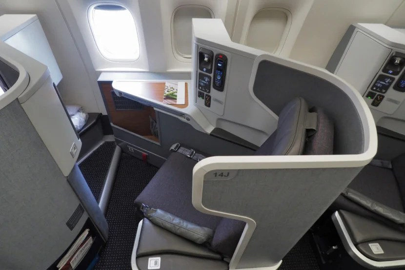A window seat in AA's new 777-300ER business-class cabin.