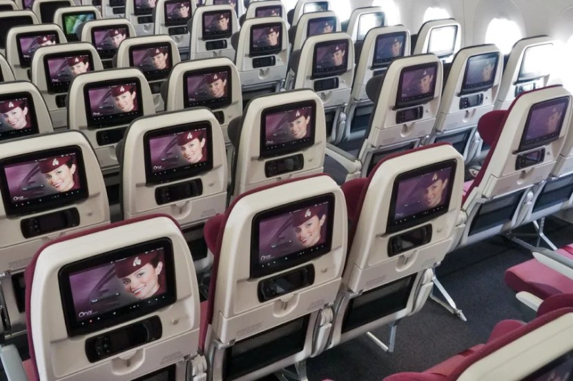 With just 31 or 32 inches of pitch in most rows, you don't have much room in economy, but every passenger gets a huge on-demand screen.