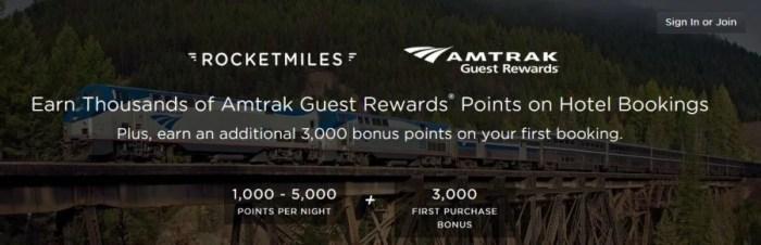 Earn bonus Amtrak Guest Reward points with Rocketmiles bookings
