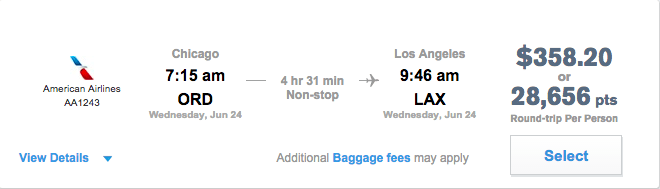 Pay for Chicago to Los Angeles round-trip with your points or cash.
