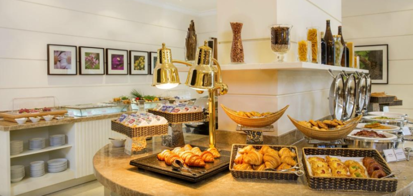 The breakfast buffet at the Hilton Garden Inn Hanoi blends western fare with traditional dishes
