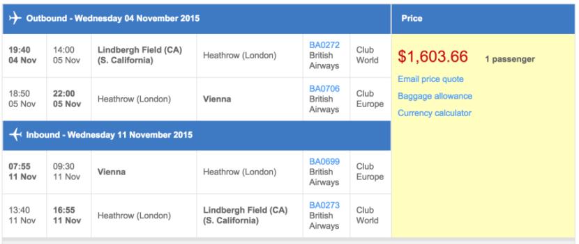 San Diego (SAN) to Vienna (VIE) in business class on British Airways for $1,604.