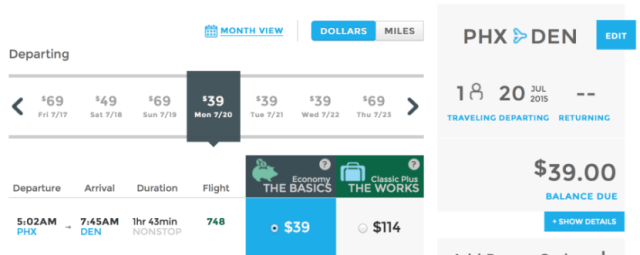 Fly from Phoenix to Denver for $39 one-way this summer.